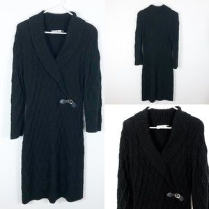 Calvin Klein Cable Knit Sweater Wrap Dress Large